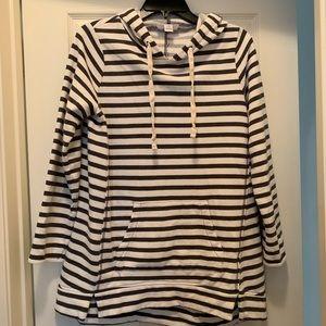 Motherhood Striped Maternity Sweatshirt w/Hoodie